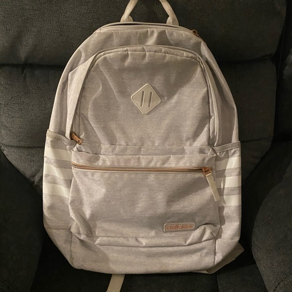 Rose gold and grey adidas backpack